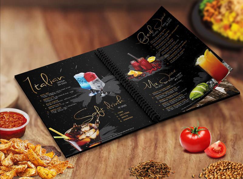 Thiết kế menu nước trong thực đơn nhà hàng