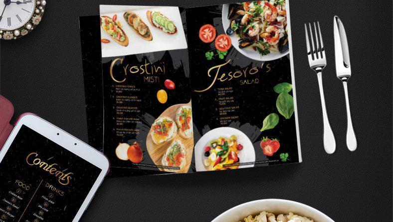 Giới thiệu mẫu thiết kế menu nhà hàng Tesoro