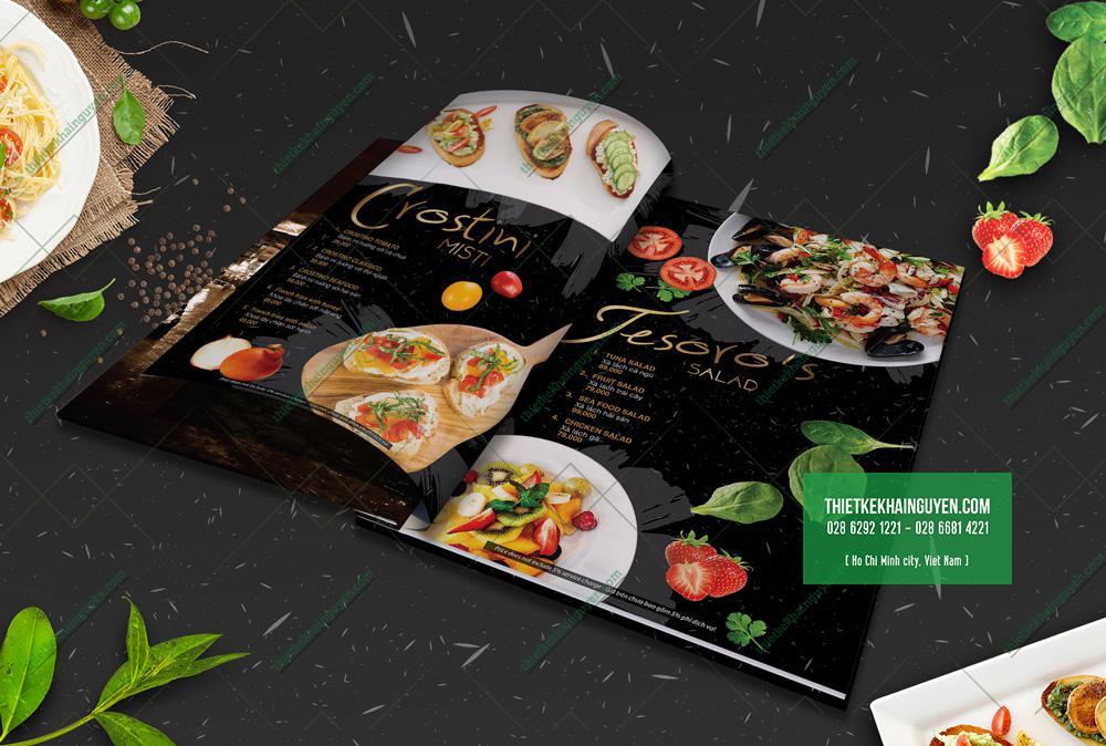 Thiết kế thực đơn nhà hàng Tesoro được mockup ở dạng menu gáy ốc ngoài