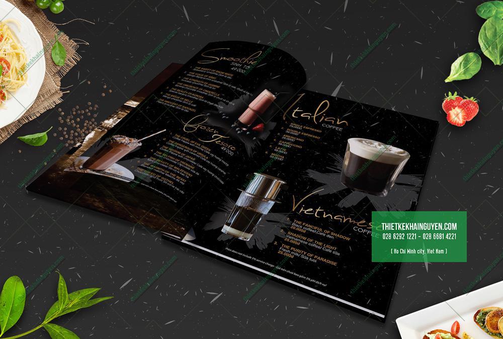 Menu Nước và Coffee trong thiết kế menu nhà hàng