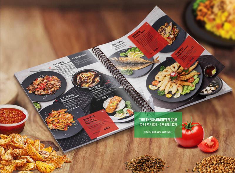 Mẫu menu cho nhà hàng Hàn Quốc