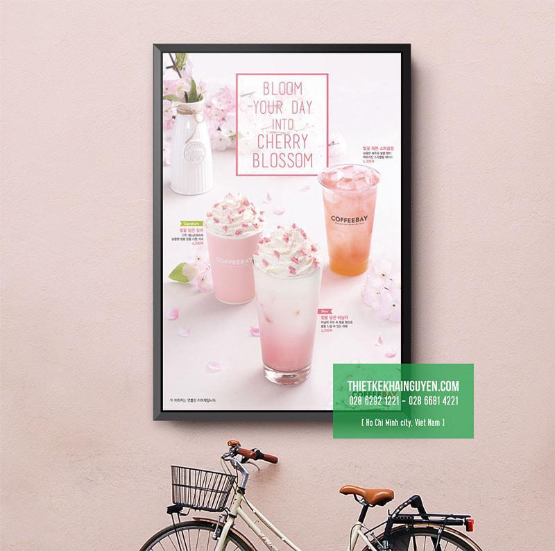 Poster menu màu hồng, hồng mộng mơ xinh đẹp