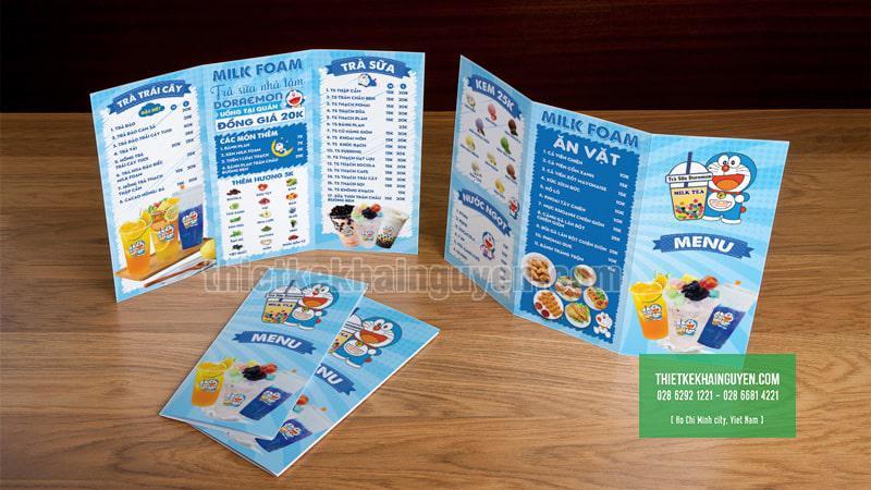 Thiết kế menu trà sữa dễ thương cho quán trà sữa
