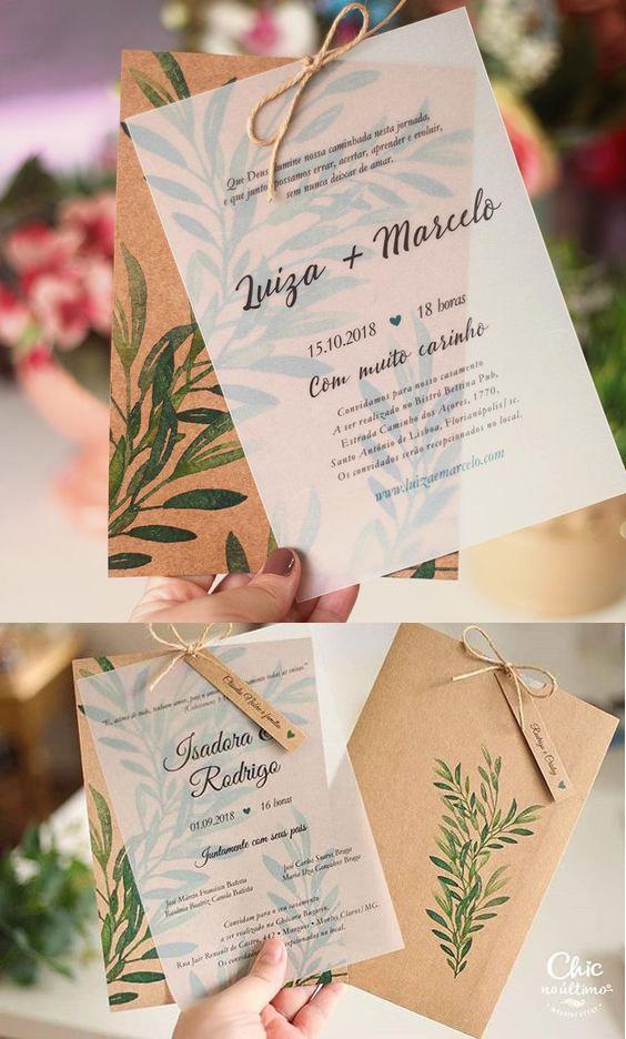 Kết hợp giấy can và giấy kraft tạo nên bộ thiệp mời ấn tượng