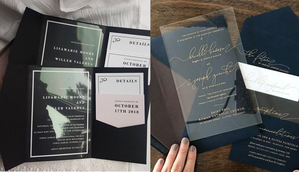 In thiệp mời nhựa trong kết hợp cùng giấy mỹ thuật ấn tượng