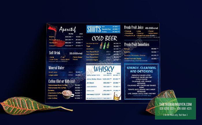 Phong cách hiện đại đầy sức sống đã mang đến thành công cho bảng menu A3 này