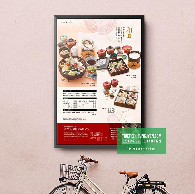 Một mẫu thiết kế thực đơn dán tường tại nhà hàng Trung Hoa