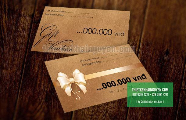 Gift voucher in giấy kraft cho thương hiệu hàng xách tay