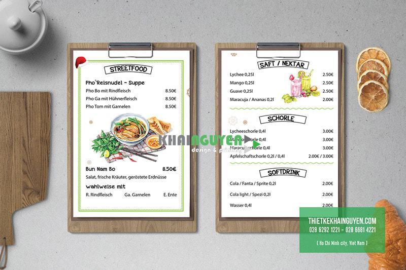 Mẫu thiết kế menu quán ăn My Sapa