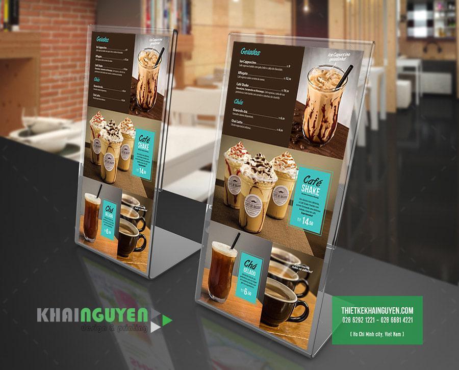 Mẫu thiết kế menu để bàn tại các quán café