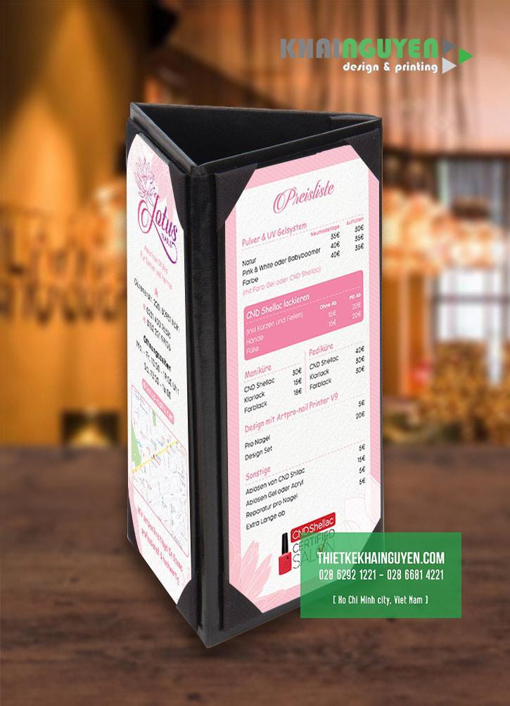 Hình mockup menu Lotus ở dạng standee để bàn tam giác