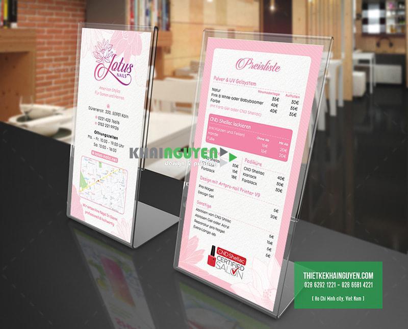 Bảng giá dịch vụ (menu nail) trong bộ thiết kế tiệm Nails