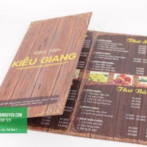 Menu cơm tấm Kiều Giang - Dạng menu bìa cứng gấp 3