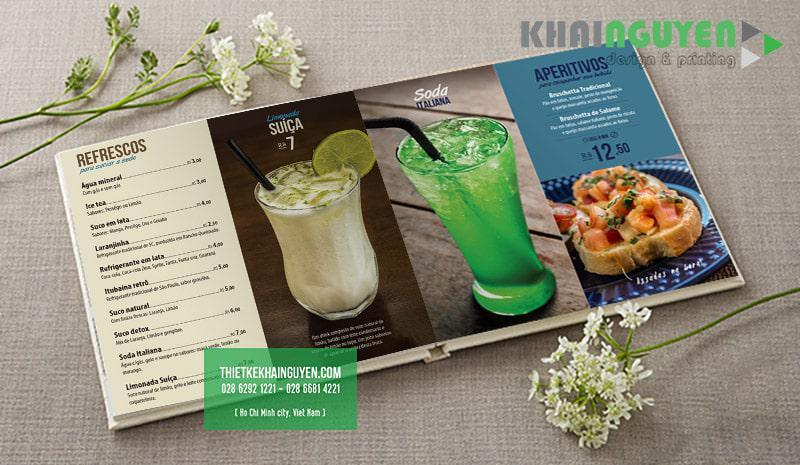 Phần thực đơn nước trong thiết kế menu café