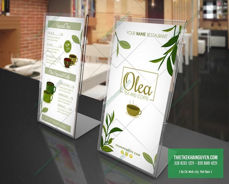 Olea Tea and Coffee/ menu để bàn đặc sắc