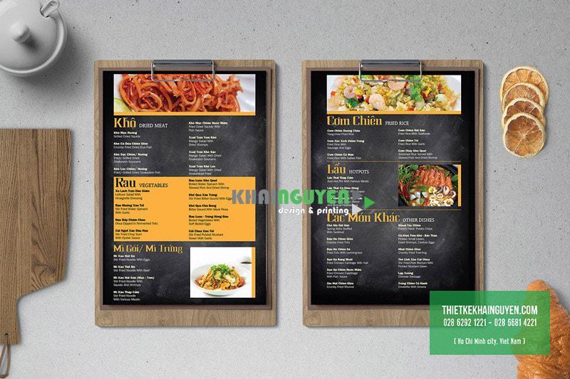 Thiết kế thực đơn cho quán ăn gia đình, đơn giản và đẹp