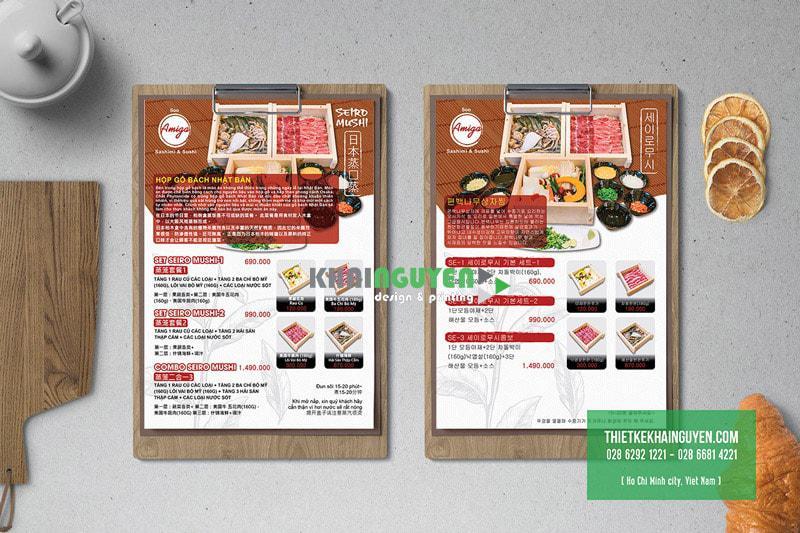 Quán ăn Nhật với thiết kế menu đặc trưng