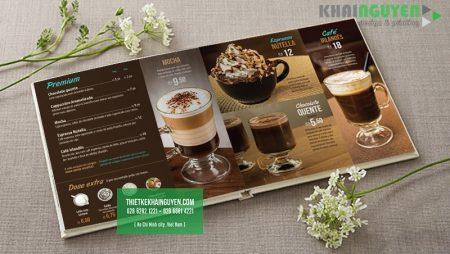 Thiết kế menu café mở phẳng sang trọng và hiện đại.