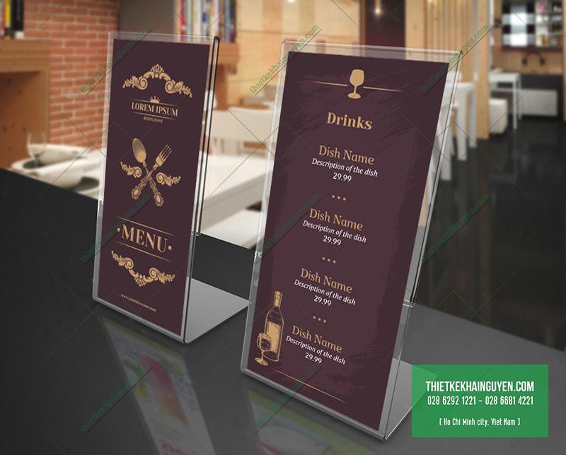 Thiết kế menu tiệc - dạng menu tiệc để bàn
