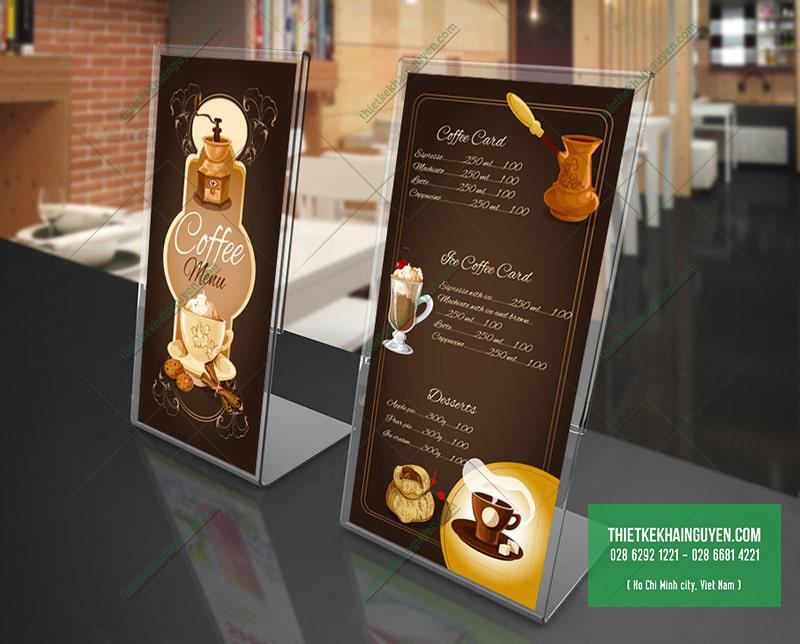 Thiết kế menu quán cà phê với tone màu nâu cafe truyền thống