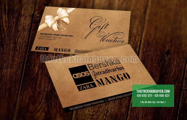 Thiết kế voucher đơn giản trên nền giấy kraft