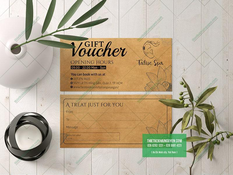 Voucher in giấy kraft được sử dụng rất nhiều tại các SPA