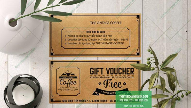 In voucher giấy kraft cổ điển cho quán cafe
