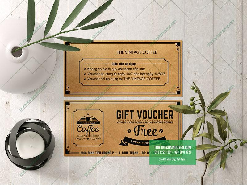 Voucher vintage coffee - mẫu thiết kế voucher kraft cho quán cafe