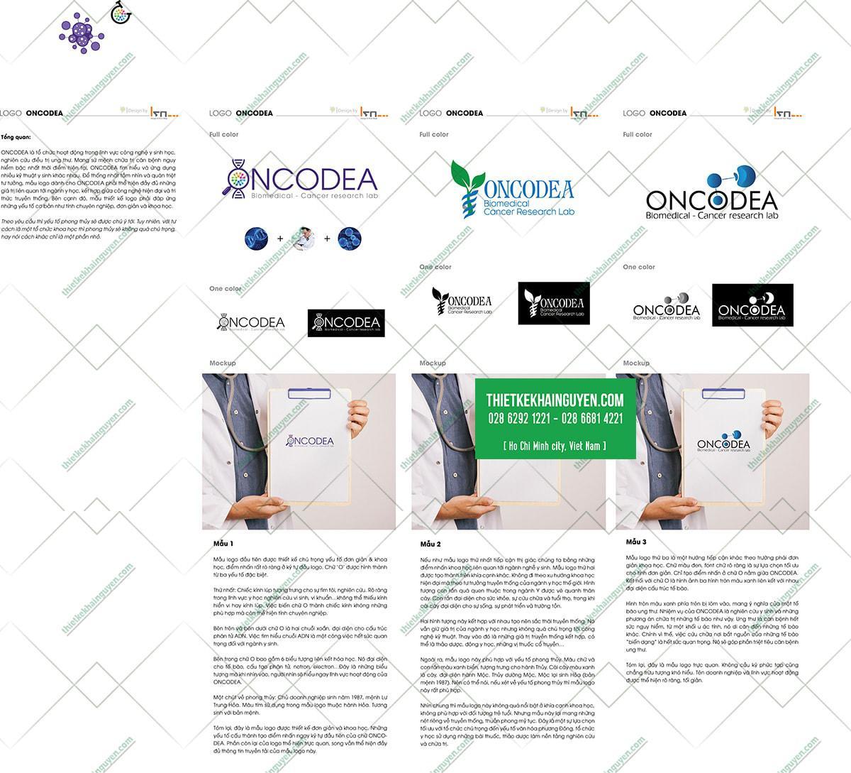 3 mẫu thiết kế logo Y Học của trung tâm ONCODEA