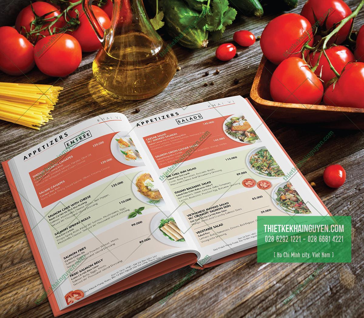 Phong cách thiết kế menu tinh tế cho nhà hàng hiện đại