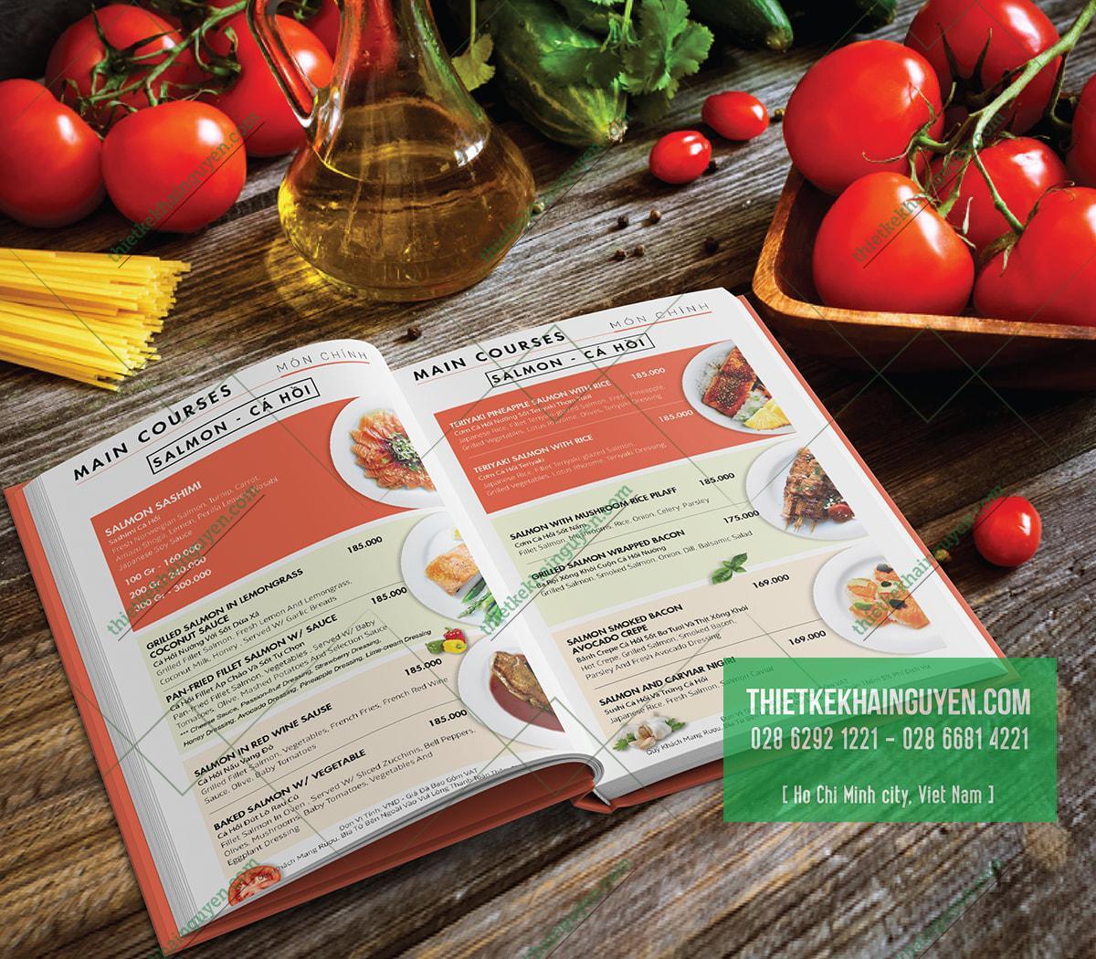 Thiết kế thực đơn nhà hàng Salmon