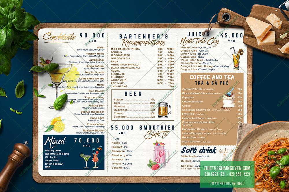 Mẫu menu món nước của resort