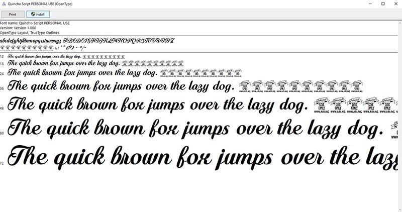 Nhấn install để cài font chữ máy tính