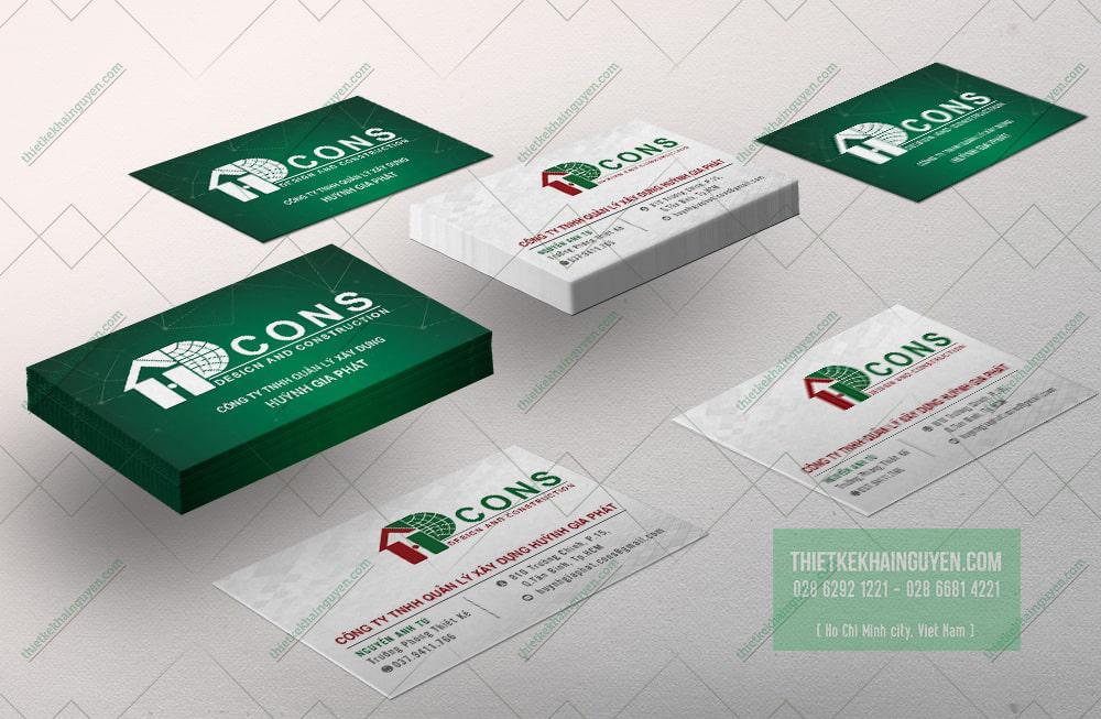 Name card kinh doanh của công ty xây dựng HƯNG GIA PHÁT