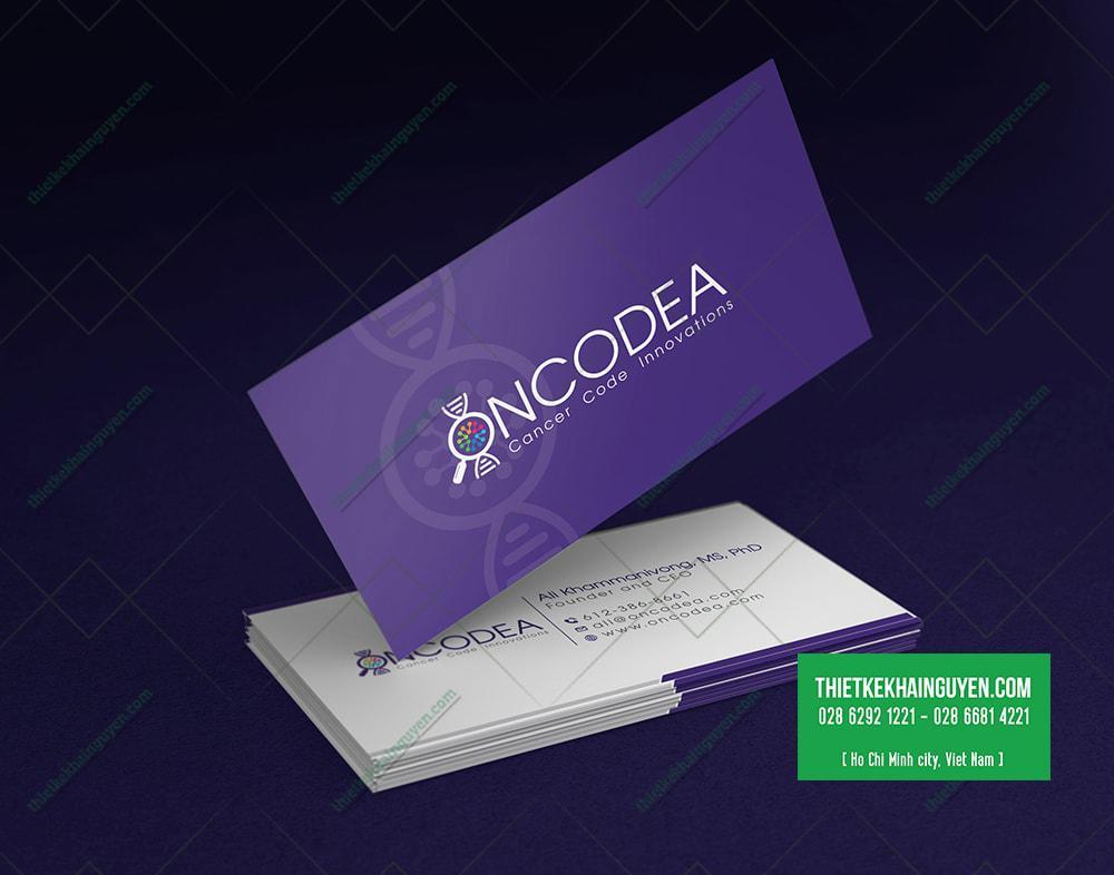 Thiết kế card visit với tone màu tím thú vị - thiết kế logo y học