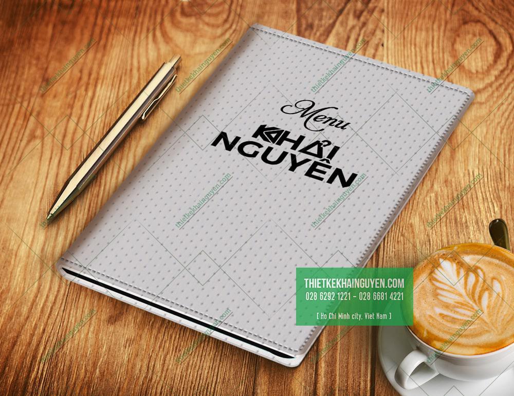 Mẫu bìa menu da vân sọc caro ấn tượng