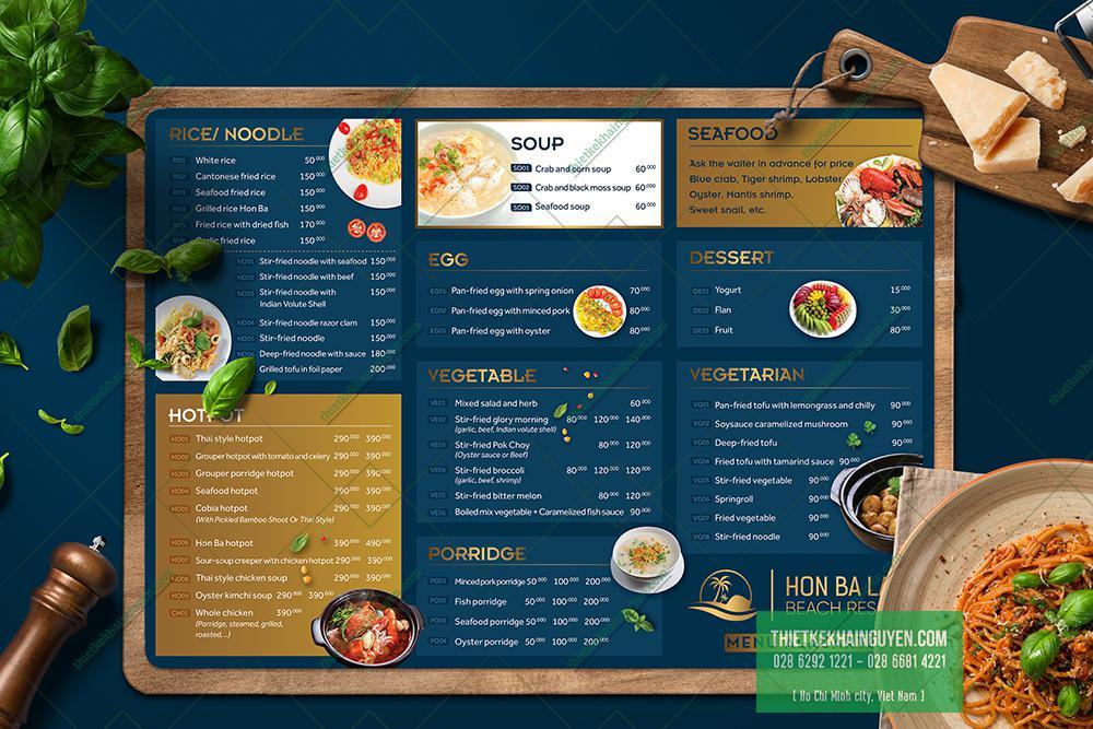 Thiết kế menu món chính của Resort Hòn Bà Lagi
