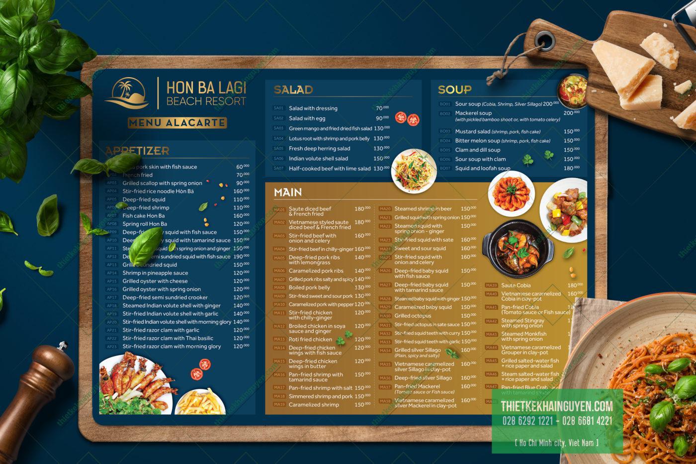Phiên bảng tiếng Anh của menu Resort Hon Ba LaGi