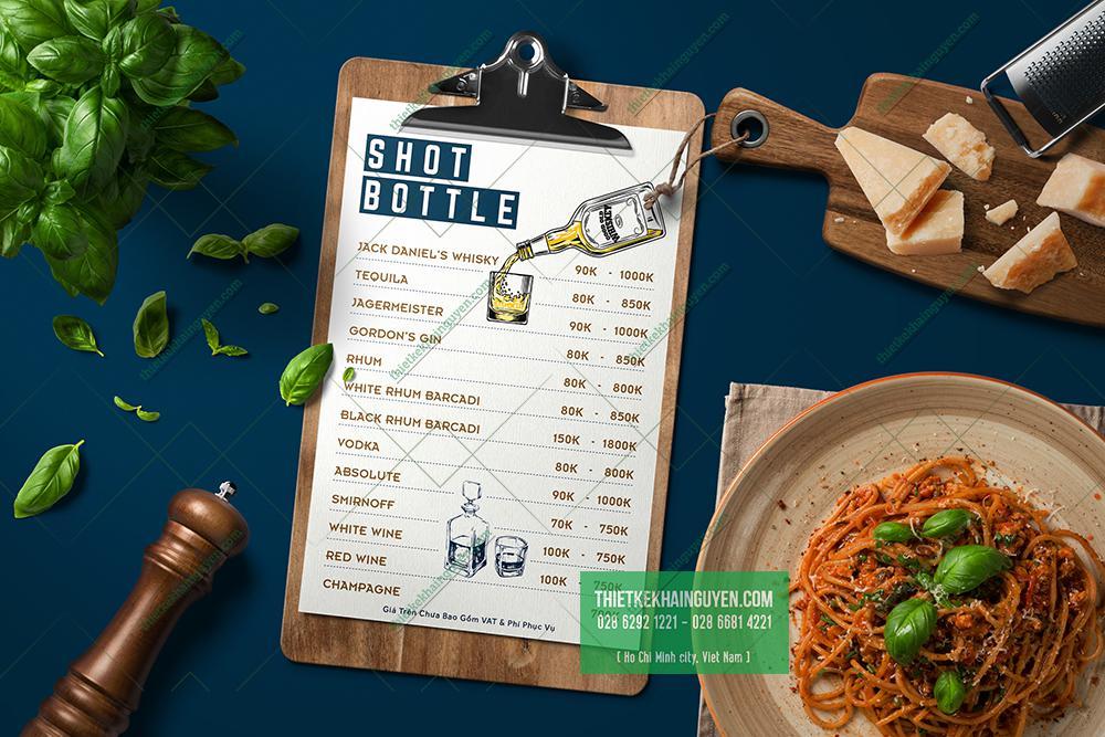 Mẫu menu A4 của - đơn giản và hiện đại