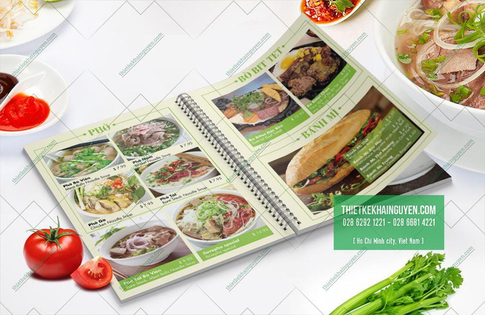 Những món ăn được trình bày rõ ràng trong cuốn thực đơn - ILove Phở