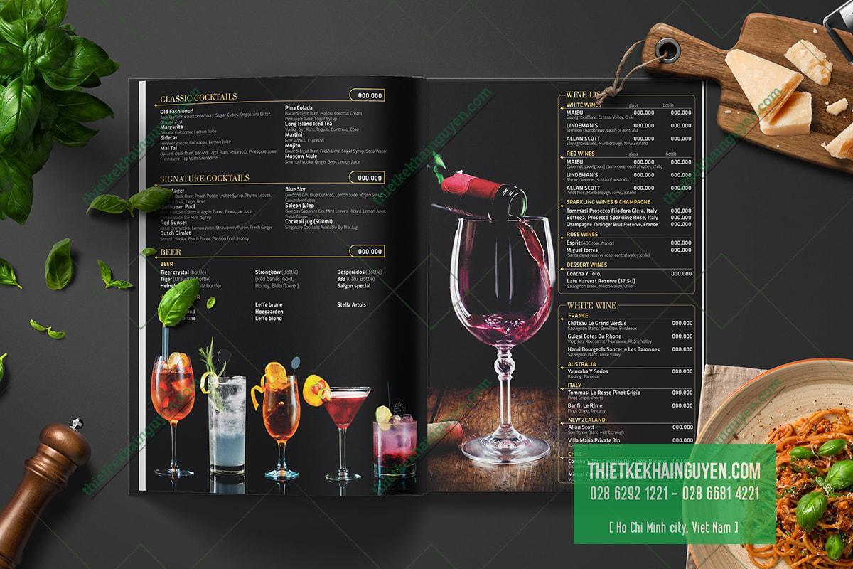 Phần menu nước trong thiết kế thực đơn nhà hàng
