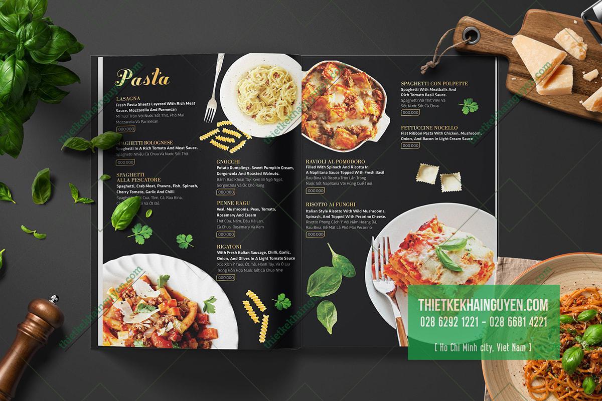 Làm menu cho nhà hàng Nocello, món ngon đến từ Ý
