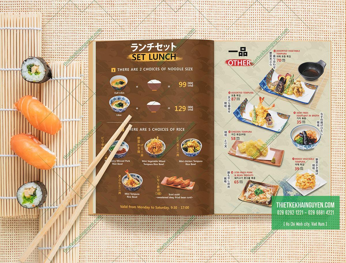 Mẫu menu nhà hàng Nhật đẹp và cuốn hút