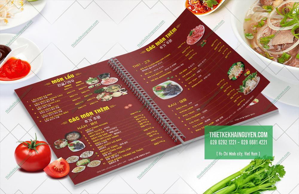 Thiết kế menu nhà hàng Phở Gà 999