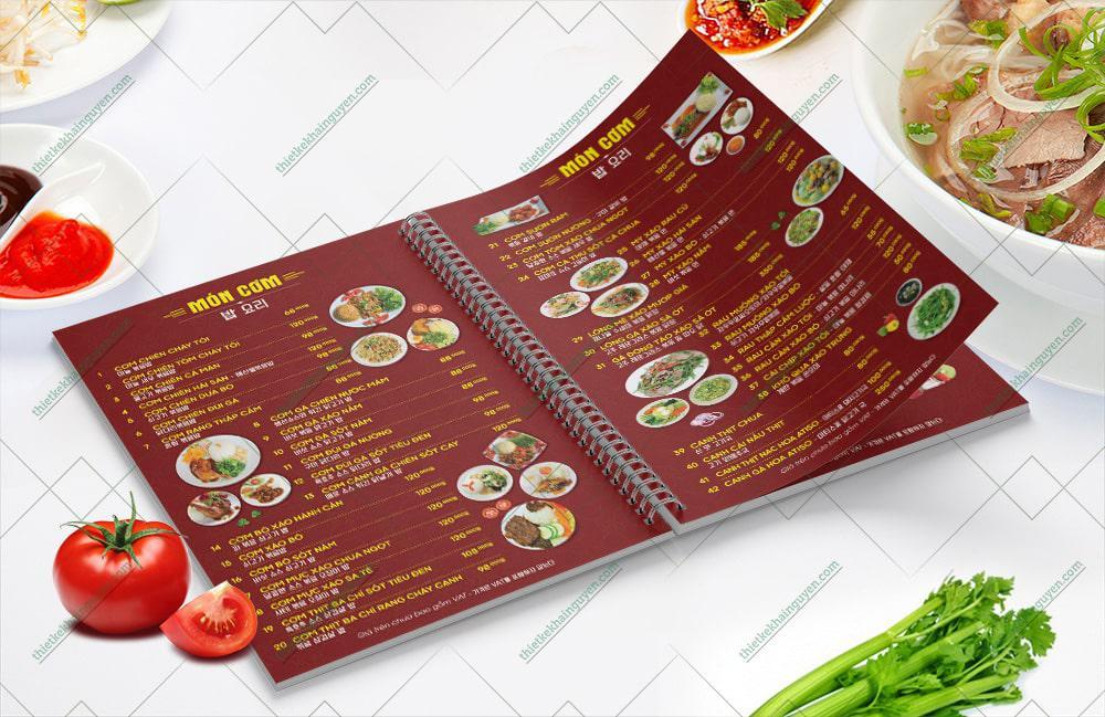 Mẫu menu nhà hàng Phở Gà 999