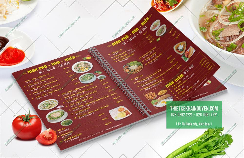 Mẫu menu Phở - Nhà hàng Phở Gà 999