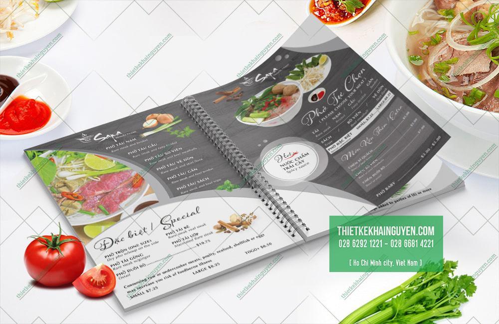 Menu Phở Sapa - Kiểu thiết kế mới lạ cho menu Phở