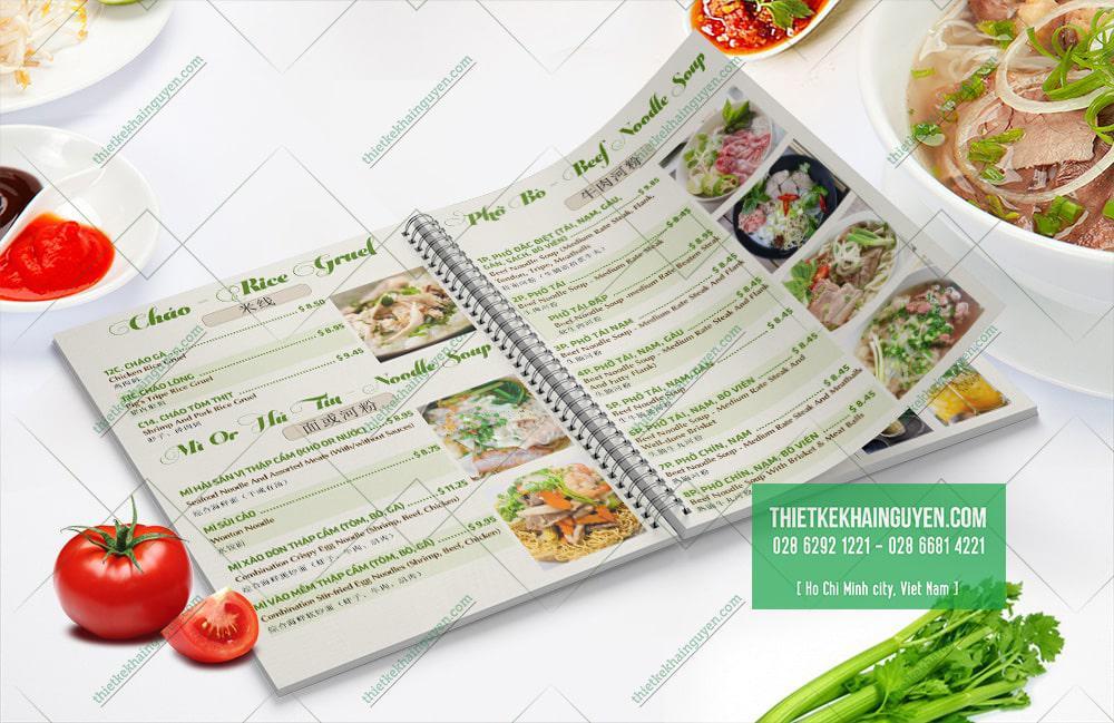 Món phở việt được giới thiệu chi tiết trong menu