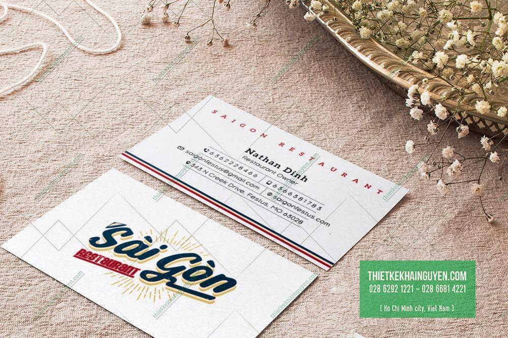 Name card nhà hàng Sài Gòn
