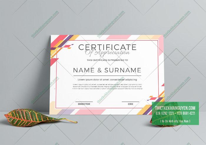 Giới thiệu mẫu giấy chứng nhận đẹp với màu sắc tươi sáng